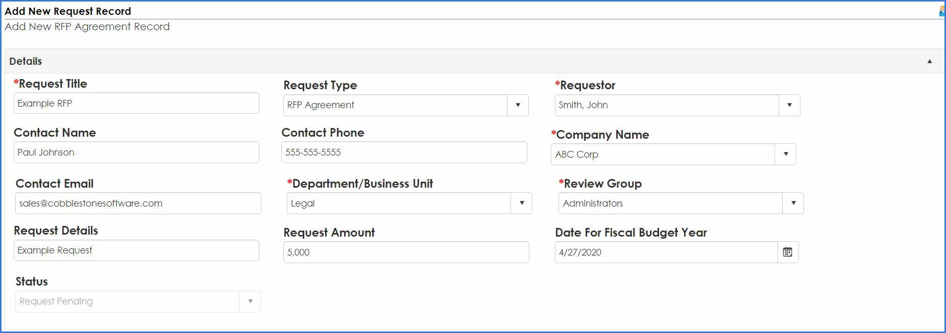 Add a new request record in Contract Insight.
