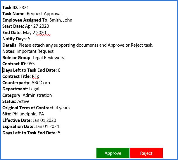 Contract Insight request approval alert