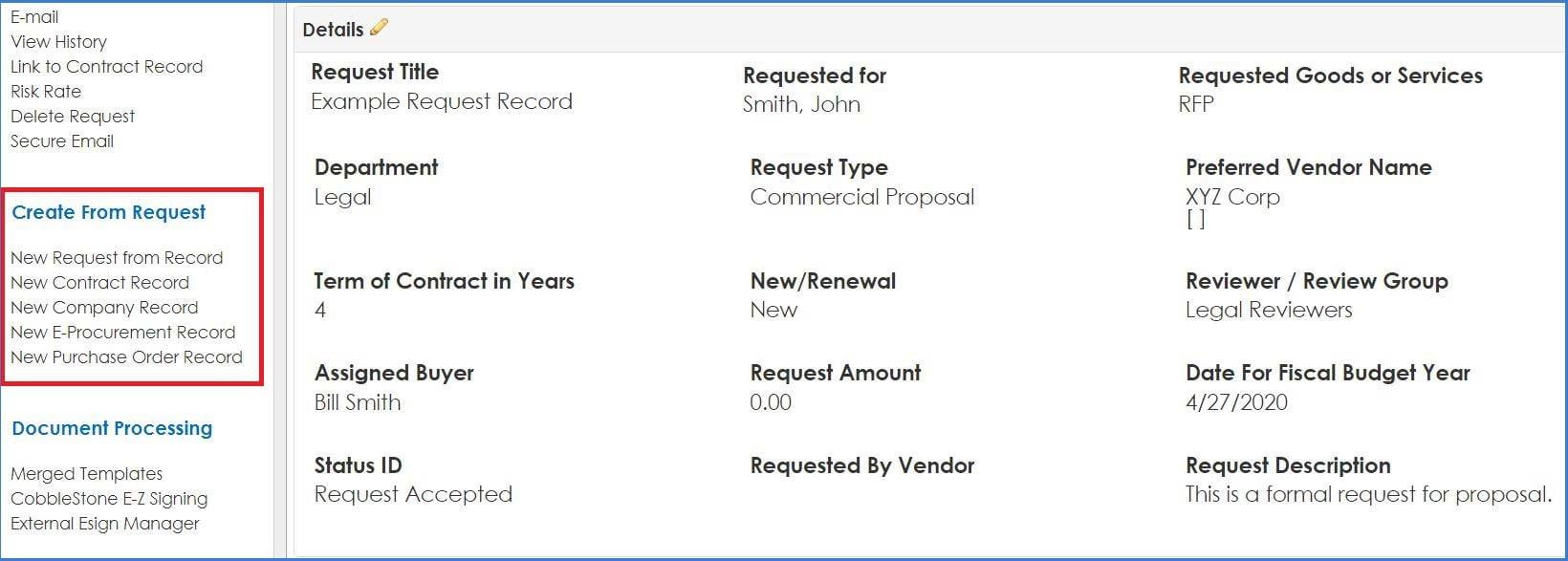 CobbleStone Software create a record from a request