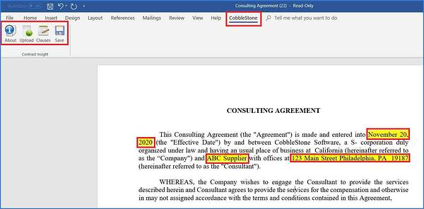 MS Word Ribbon tab shown in Contract Insight.