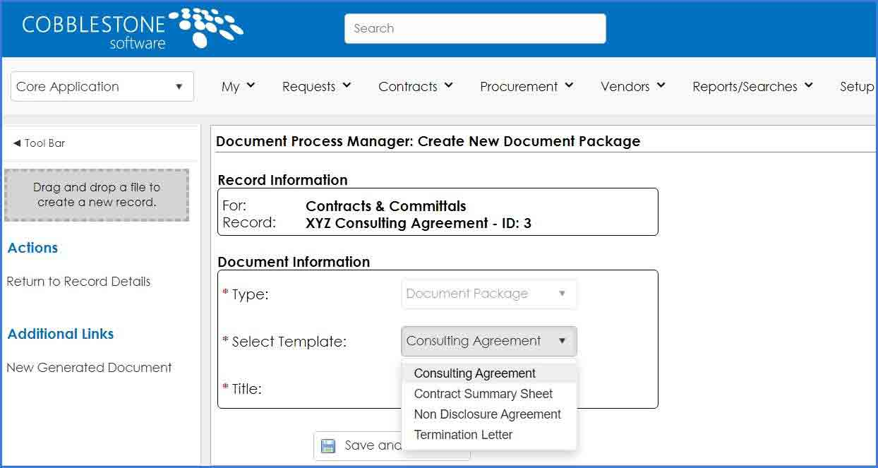 CobbleStone Software offers a document process manager for clause merging.