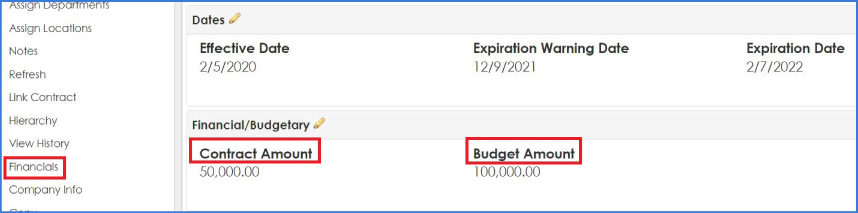 Track contract amount against budget amount with Contract Insight.