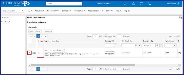 CobbleStone Software offers the ability to find your keyword source within CobbleStone Contract Insight finding the keyword source.