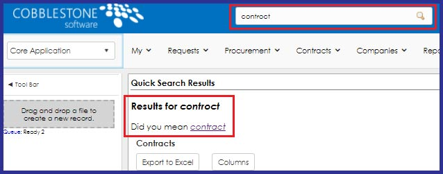 CobbleStone Software offers word suggestions for typed and searched keywords that may be misspelled within CobbleStone Contract Insight did you mean functionality.