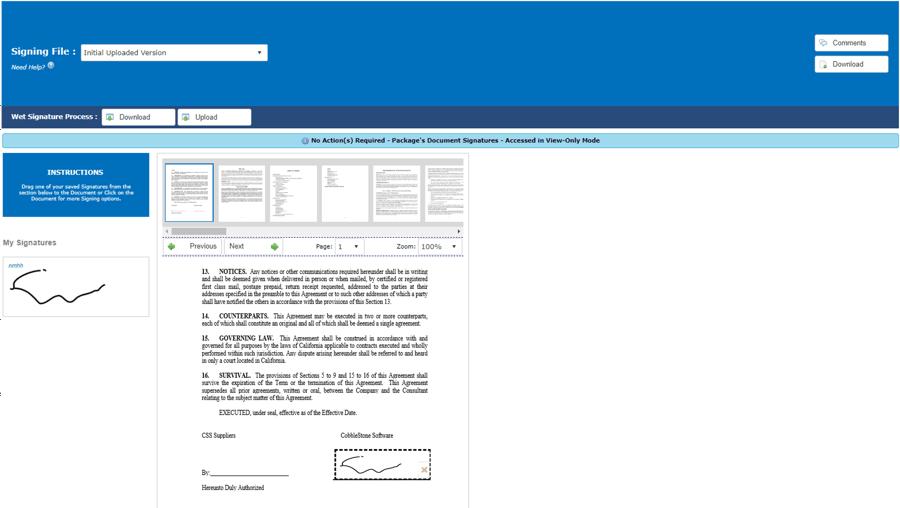 Contract Insight™ E-signatures