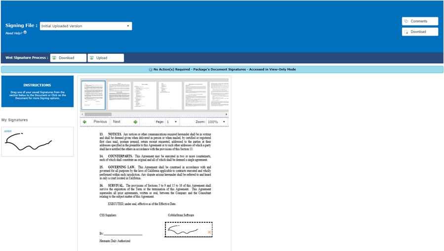Contract Insight™ E-signatures