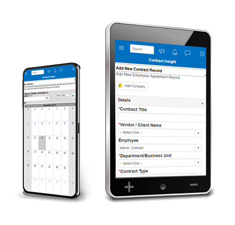 CobbleStone Software calendar shown on smartphone and adding a contract record shown on tablet.