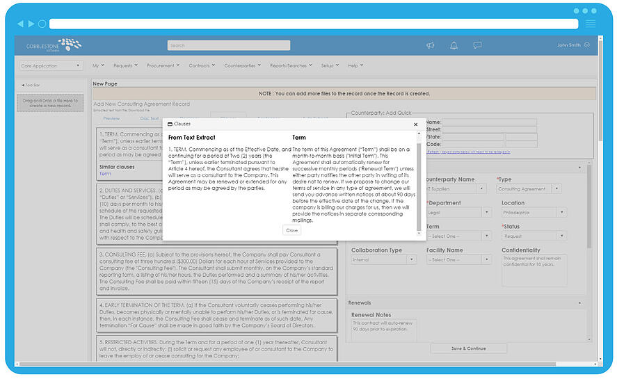 Contract Insight 17.5.0 Auto Extract and Clause Detection feature.