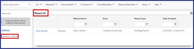 CobbleStone Software offers a vendor registration Wizard List to view and create new wizards.
