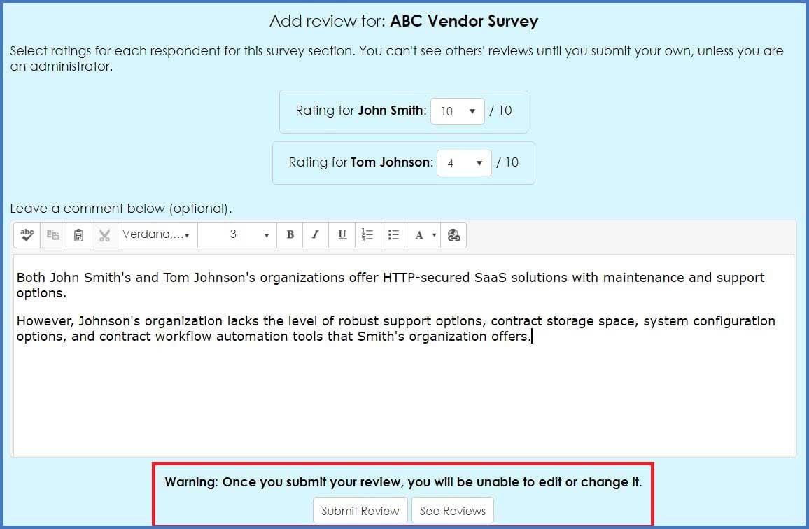 CobbleStone Software offers vendor survery review for enhanced vendor management.