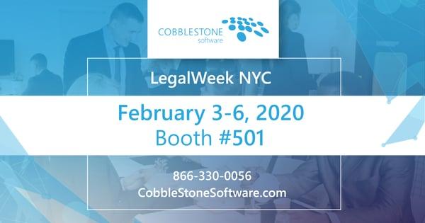 CobbleStone Softwaer will exhibit at Legalweek's LegalTech event.