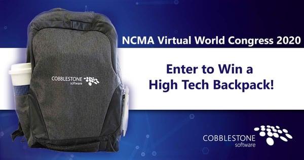 Enter to win a CobbleStone high tech backpack at NCMA Virtual World Congress 2020.