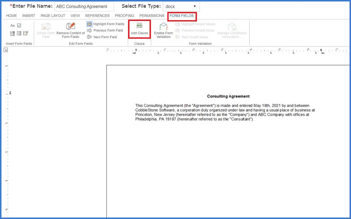 CobbleStone Software supports online document editing and clause management.