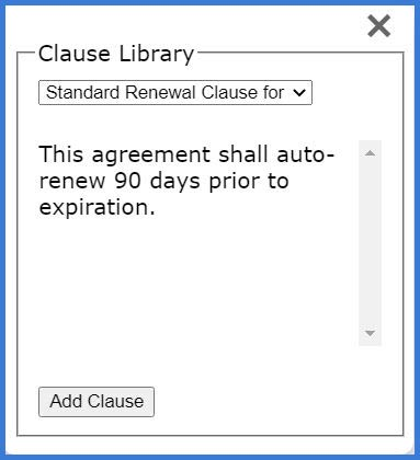 CobbleStone Software add document from pre-approved clause library.