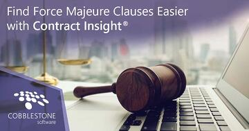 Find force majeure clauses fast using Contract Insight.