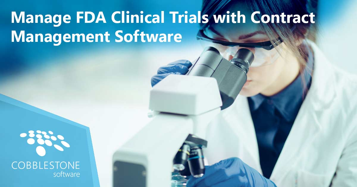 CobbleStone's leading contract management software can help with FDA clinical trial management.