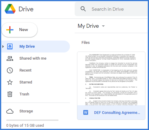 CobbleStone Software users can view their uploaded files within Google Drive.