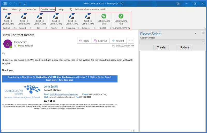 The CobbleStone Software menu ribbon is shown within MS Outlook.