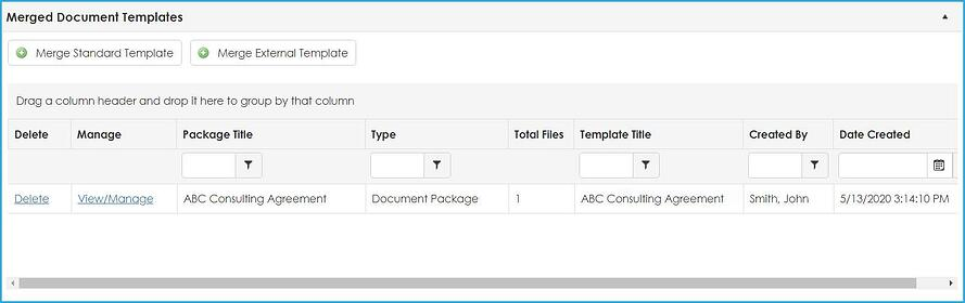 A document merged with a contract template is shown in Contract Insight 17.6.0.