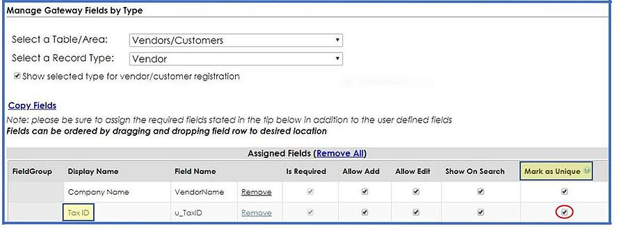 Configure fields in CobbleStone Software.