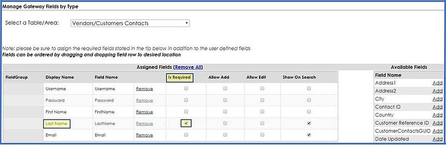 Configure company contact fields in CobbleStone Software.