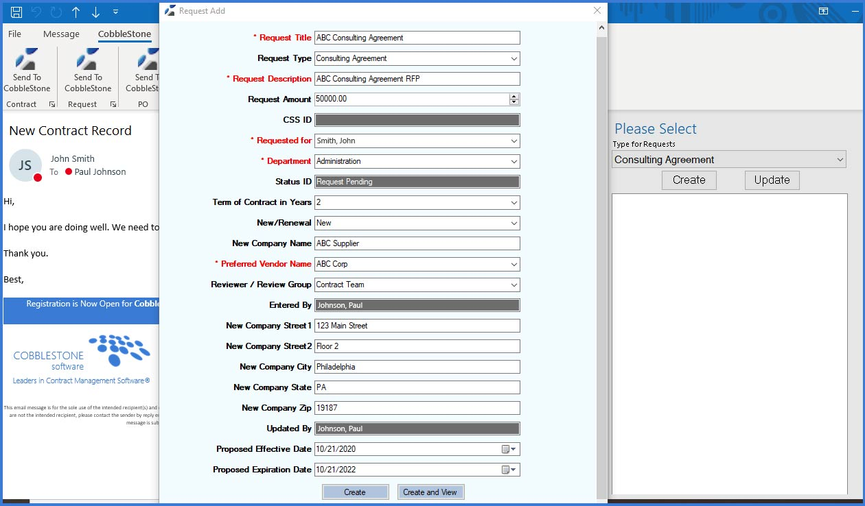 CobbleStone Software's PC Helper App easily adds contracts and requests.