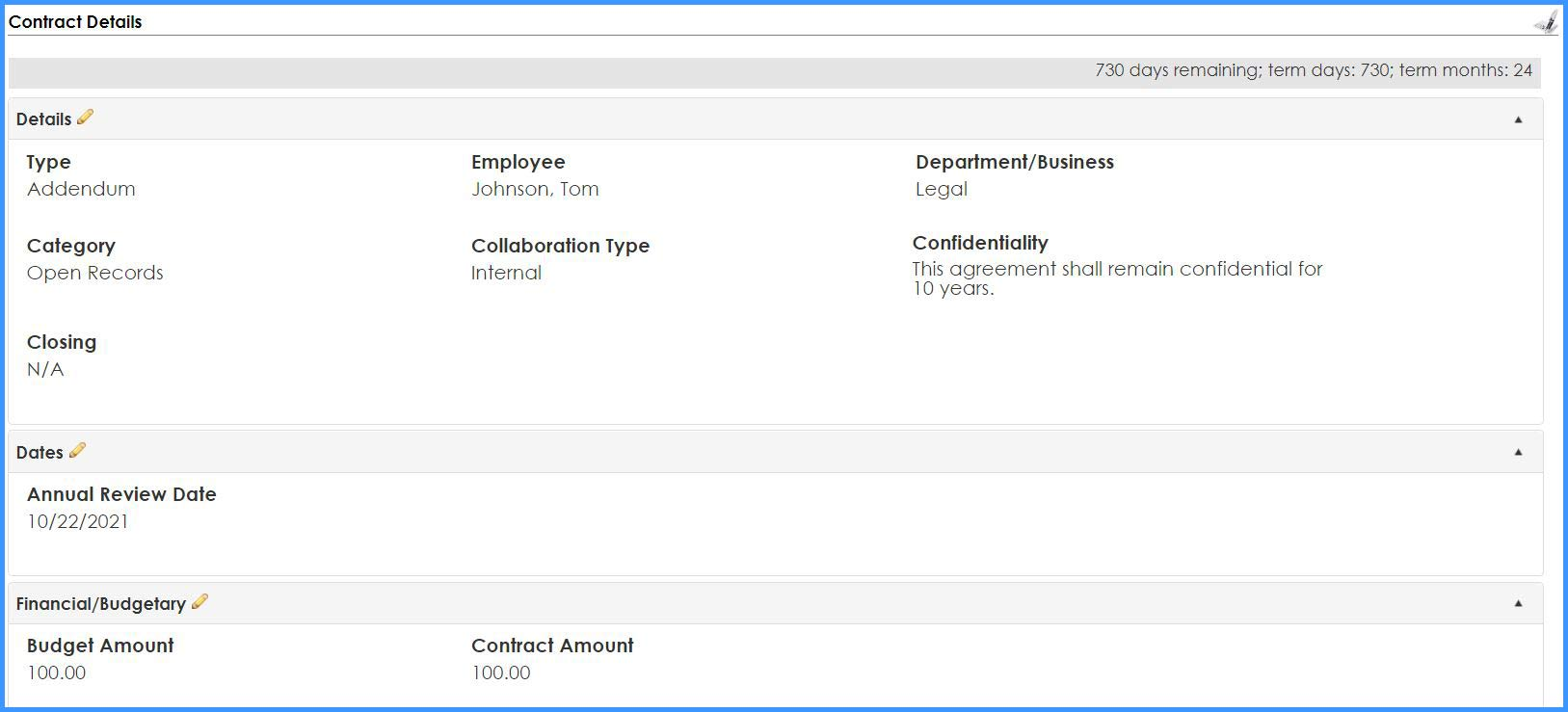 CobbleStone Software displays fields on a contract details page.