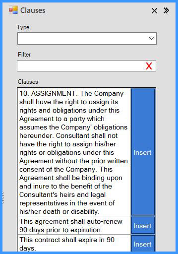 CobbleStone Software offers an intuitive clause menu.