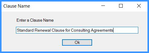 CobbleStone Software allows you to name standard clauses.