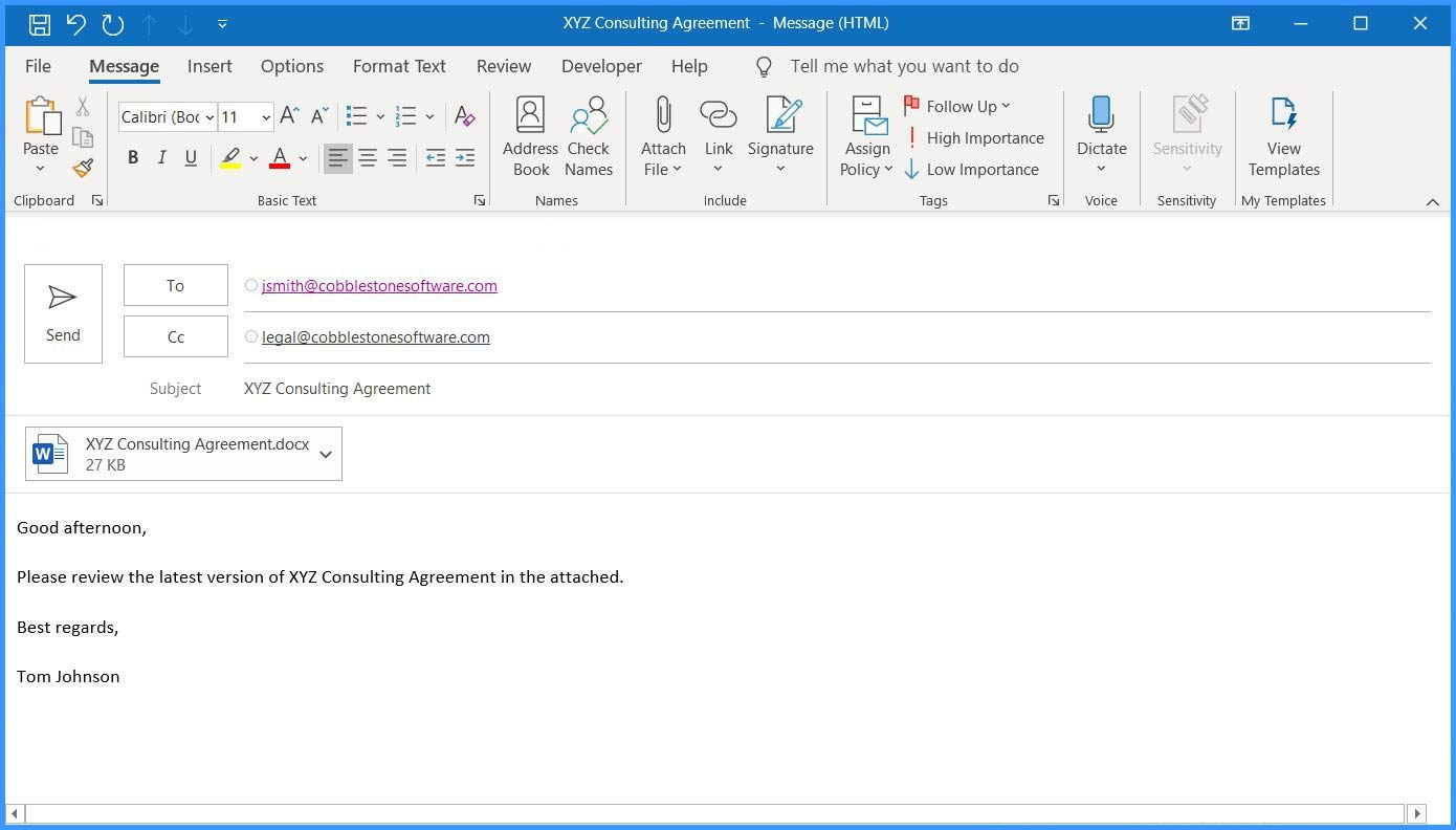 CobbleStone Software's PC Helper App can integrate MS Word and MS Outlook.