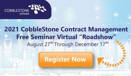 "CobbleStone Software hosts its 2021 Contract Management Free Seminar Virtual ""Roadshow."""